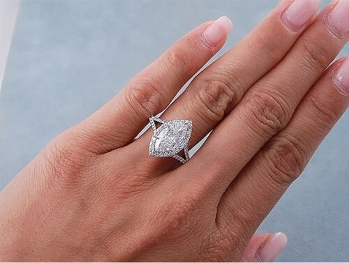 T 3.00 Ct Bridal Wedding Marquise Cut Vintage Diamond Engagement Ring Size I