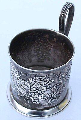 silver plated Russian Melchior podstakannik Tea glass Holder hand made melxior
