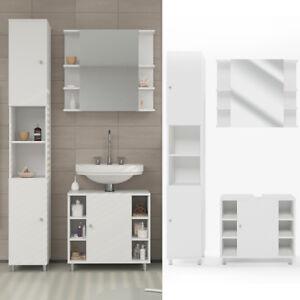 Détails sur VICCO FYNN Meuble sous-lavabo armoire de bain meuble de salle  de bain blanc