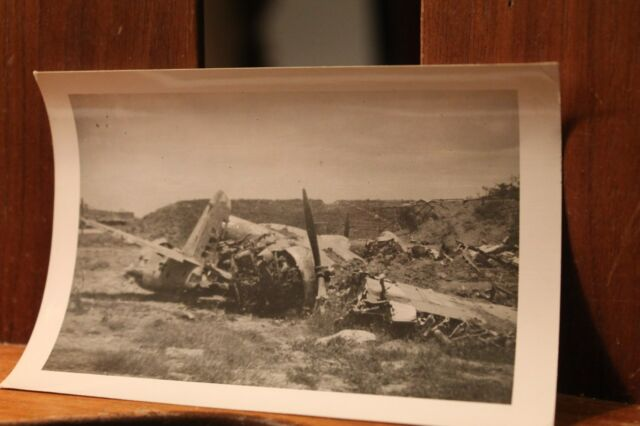 WWII ca.1944 Photo 3.25x4.5 Crashed Japanese Mitsubishi G3M Nell Bomber Plane
