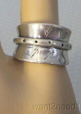 MCM modernist handcrafted artisan BIOMORPHIC STERLING SILVER BAND RING sz 5.5