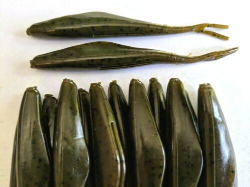 BASS-WALLEYE-CHOOSE PACKAGE SIZE FLUKES -GREEN PUMPKIN 4/'/' JERK MINNOW