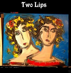 TWO LIPS SIGNED  Original Oil Painting on canvas IMPRESSIONIST TY4DF45E