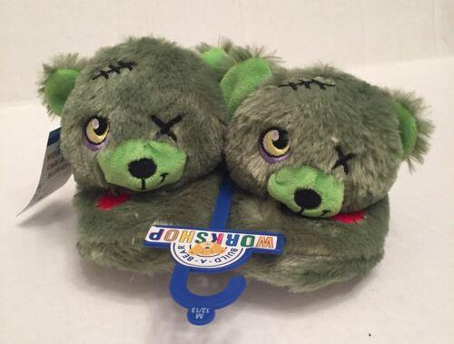 Zombie Slippers Kids M 12-13 Build A Bear NWT New Green Head Plush Nonslip