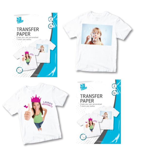 2 x A4 T Shirt Transfer Paper Print Iron On Light Fabric Inket Heat Press Logo