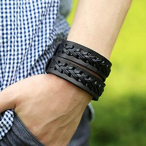 UK-Men-Vintage-Glamorous-Braid-2-Layers-Leather-Bangle-Punk-Wristband-Cuff-Brac