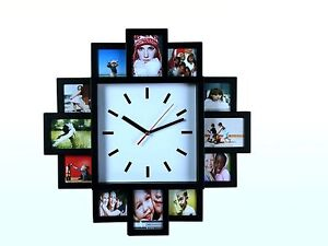 Hanging Wall Clock Style 12 Family Photo Frame Memories Picture