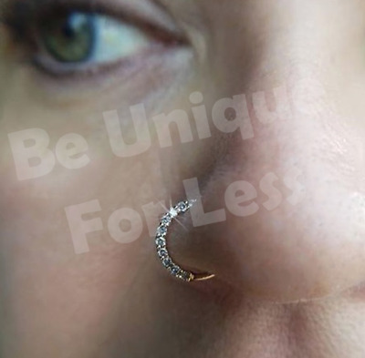 A pair of Indian Hoop Earrings Helix Ear Studs  Crystal Zircon Diamante 8mm