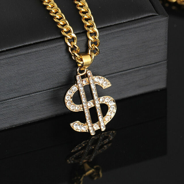 Gold Plated Crystal Dollar Sign Pendant Necklace Gangster Pimp Hip Hop Chain DD