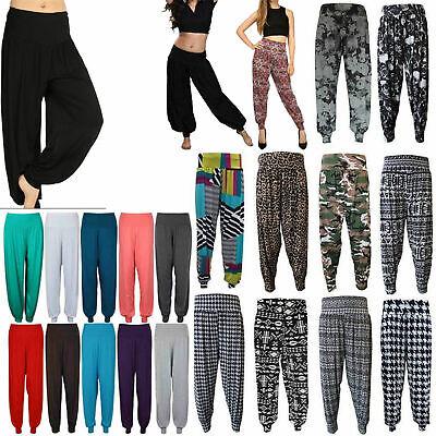 New Women Ladies Full Length Printed Harem Alibaba Baggy Trouser Pants Size 8-26