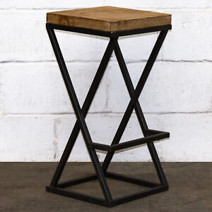 Awe Inspiring Details About Bar Stool Reclaimed Wood Style Industrial Metal Vintage Rustic Traditional Seats Ibusinesslaw Wood Chair Design Ideas Ibusinesslaworg