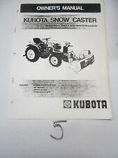 Kubota B748a Snow Caster B7100 B6100 Owners Operators Operation Manual