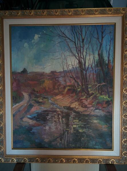 """mura"", Salvador Arís, óleo Sobre Tela 73x60, Incluye Marco, Perfecto Estado"