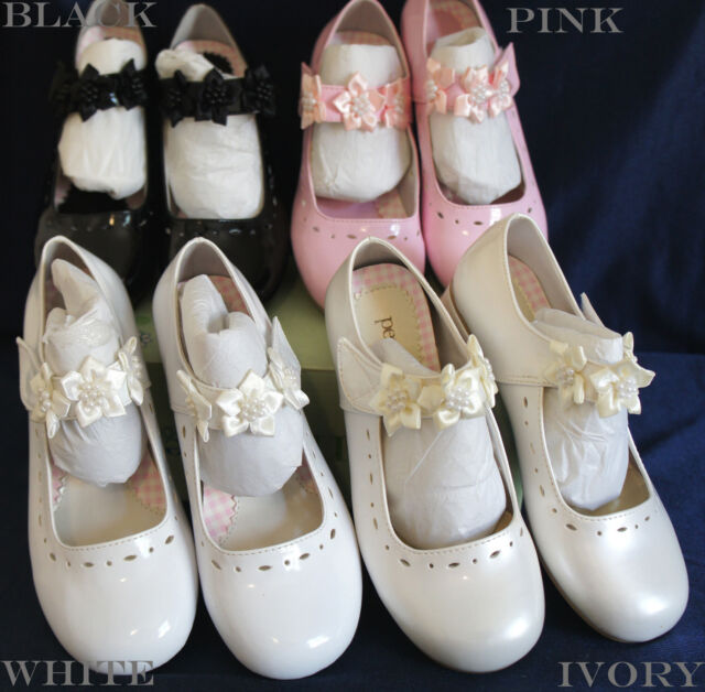 G312 Flower Girl/Party DRESS SHOES IVORY/WHITE/PINK/BLACK 5-8 Years Old Wedding