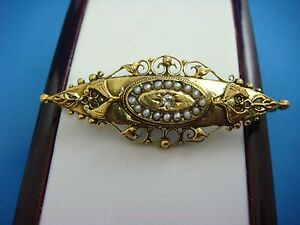 !ANTIQUE YELLOW GOLD VICTORIAN BROOCH WITH GENUINE DIAMOND AND SEED PEARLS