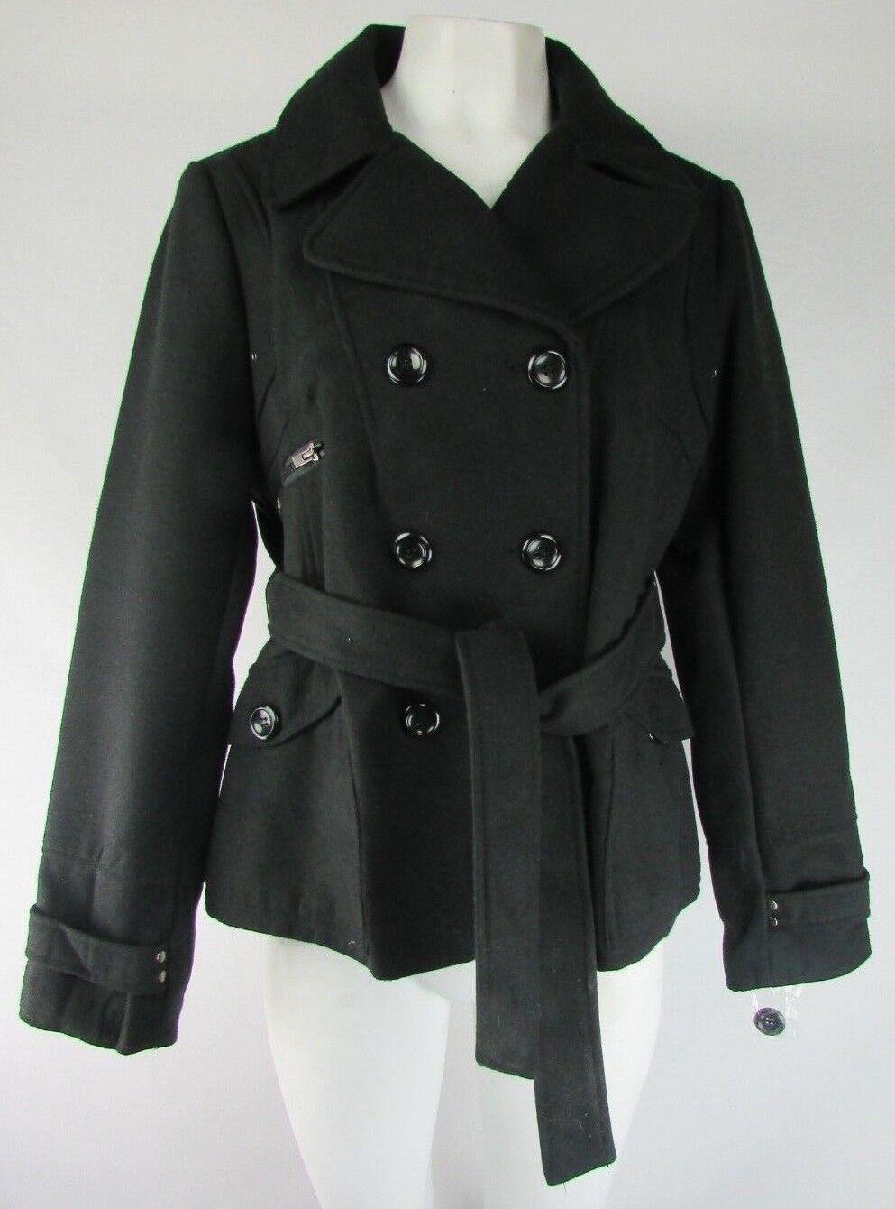 Maralyn /& Me Junior Ladies Double Breasted Waist High Pea Coat with Hood