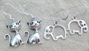 NEW 925 STERLING SILVER plain ELEPHANT & CAT drop hook EARRINGS women TEEN girl
