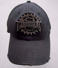Vintage METALLICA Metal Emblem Logo Flexfit Black Cap Hat Distressed Look RARE