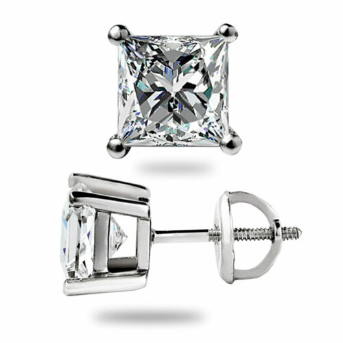 1.50 CT Princess Cut Lab Diamond Boucles d/'oreille 14K Solide Or Blanc Vis Arrière