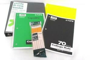 Back-To-School-Binder-Lot-D-Ring-1-Inch-2-Spiral-Notebooks-Folders-Lot-of-Pencil