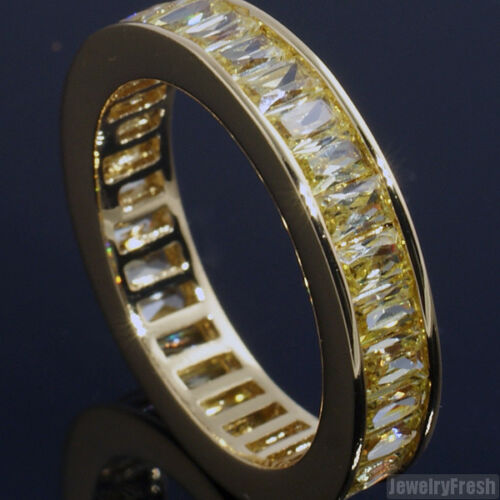Canary Lemonade Gold Baguette Stone CZ Eternity Band Ring