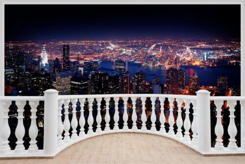 Huge 3D Balcony New York City Wall Stickers Mural Wallpaper 532