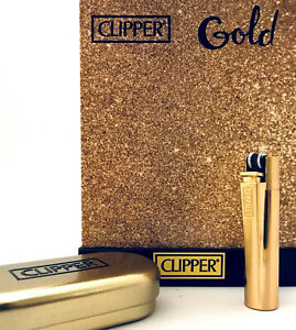 Clipper-Lighter-Metall-Metal-GOLD-Feuerzeug-GLANZEND-GOLD-mit-Metal-Box-1x