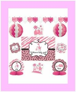 10-Pieces-It-039-s-a-Girl-Baby-Shower-Decorating-Kit-Sarari-Jungle-Theme-1248