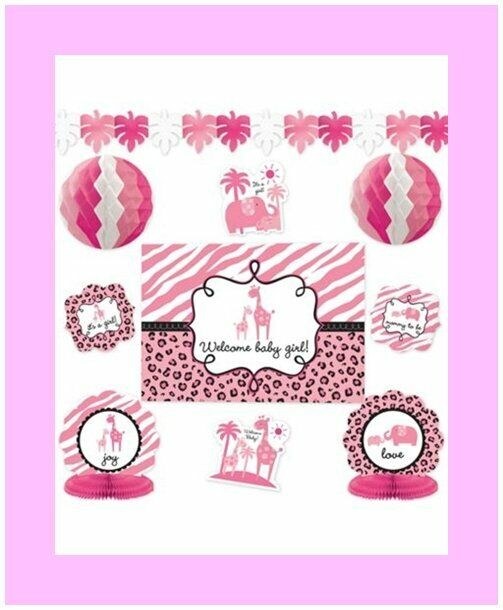 10 Pieces - It's a Girl Baby Shower Decorating Kit - Sarari Jungle Theme (#1248)