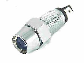 ROUND 12v BLUE LED LIGHT LAMP WITH CHROME LOOK BEZEL HOUSING FITS 8MM HOLE K172