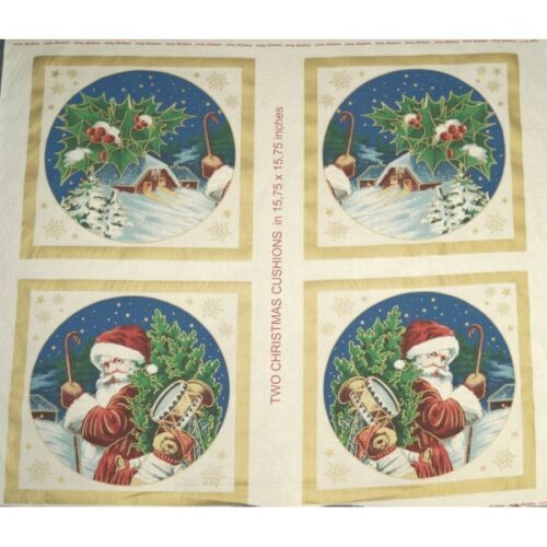 Santa Claus Delivering Gifts to a Snowy Cottage Cushion Panel 100/% Cotton Fabric