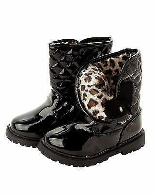 GIRLS BLACK PATENT QUILTED WARM FUR LINED CASUAL WINTER ANKLE BOOTS UK SIZE 3-7
