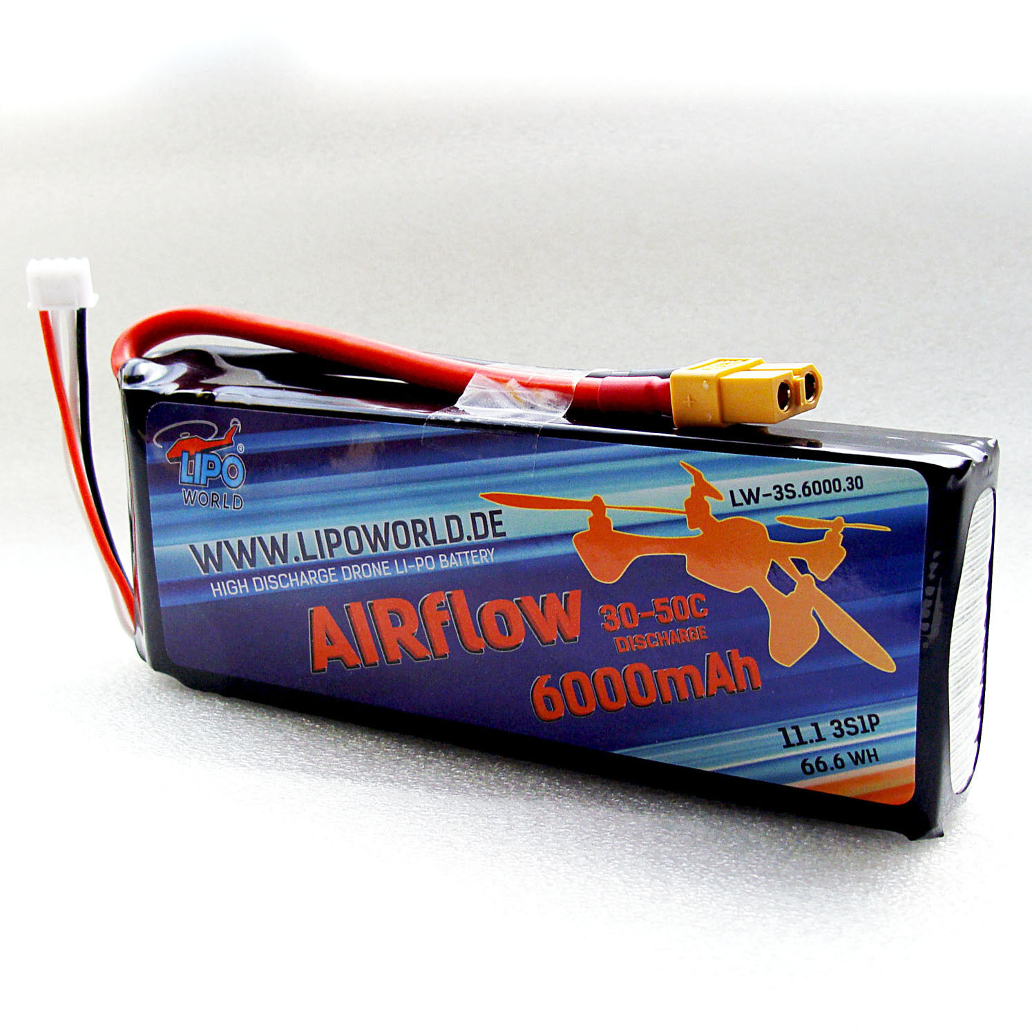 Lipo World AIRflow Lipo Akku 3S 11,1V 6000mAh 30C-50C DJI Drohne Copter Quadro