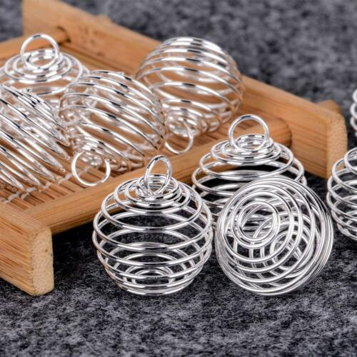 Gem Stone Setting necklace Jewelry making Findings Pendant wire spiral cages