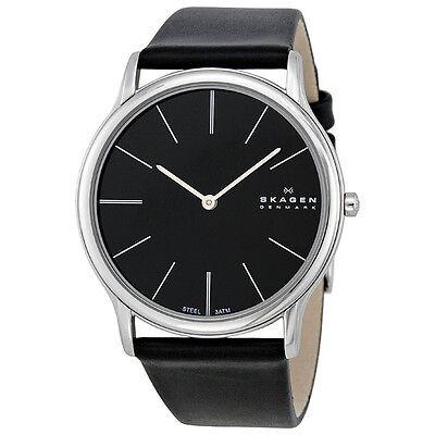 Skagen Stainless Steel Black Leather Mens Watch 858XLSLB