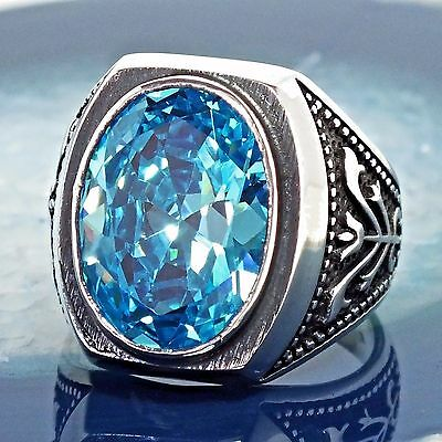925 Sterling Silver Mens Ring Swiss Blue Topaz unique handmade jewelry 10.5