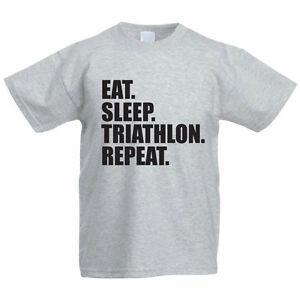 0281792d Image is loading EAT-SLEEP-TRIATHLON-REPEAT-Novelty-Funny-Gift-Children-