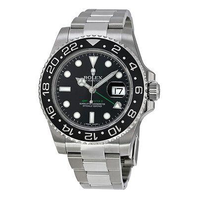Rolex GMT Master II Black Index Dial Oyster Bracelet Steel Mens Watch 116710BKSO
