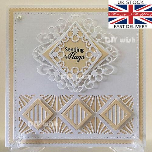 3 piece lace diamond die set pretty metal cutting die cutter UK seller fast post