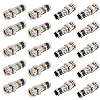 LOT 20 PCS BNC COMPRESSION CONNECTOR RG59 CCTV COAX CABLE ADAPTER COAXIAL MALE