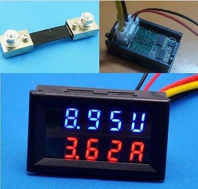 100V 100A DC Digital Voltmeter Ammeter LED Amp Volt Meter  12v 24v Car