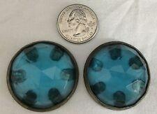 ANTIQUE CAST IRON PARLOR STOVE PART BLUE GLASS JEWEL FINIAL DECORATION EMRICH CO