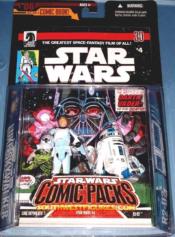 Star Wars Luke Skywalker Stormtrooper +R2-D2 Action Figures +Comic Book 2006
