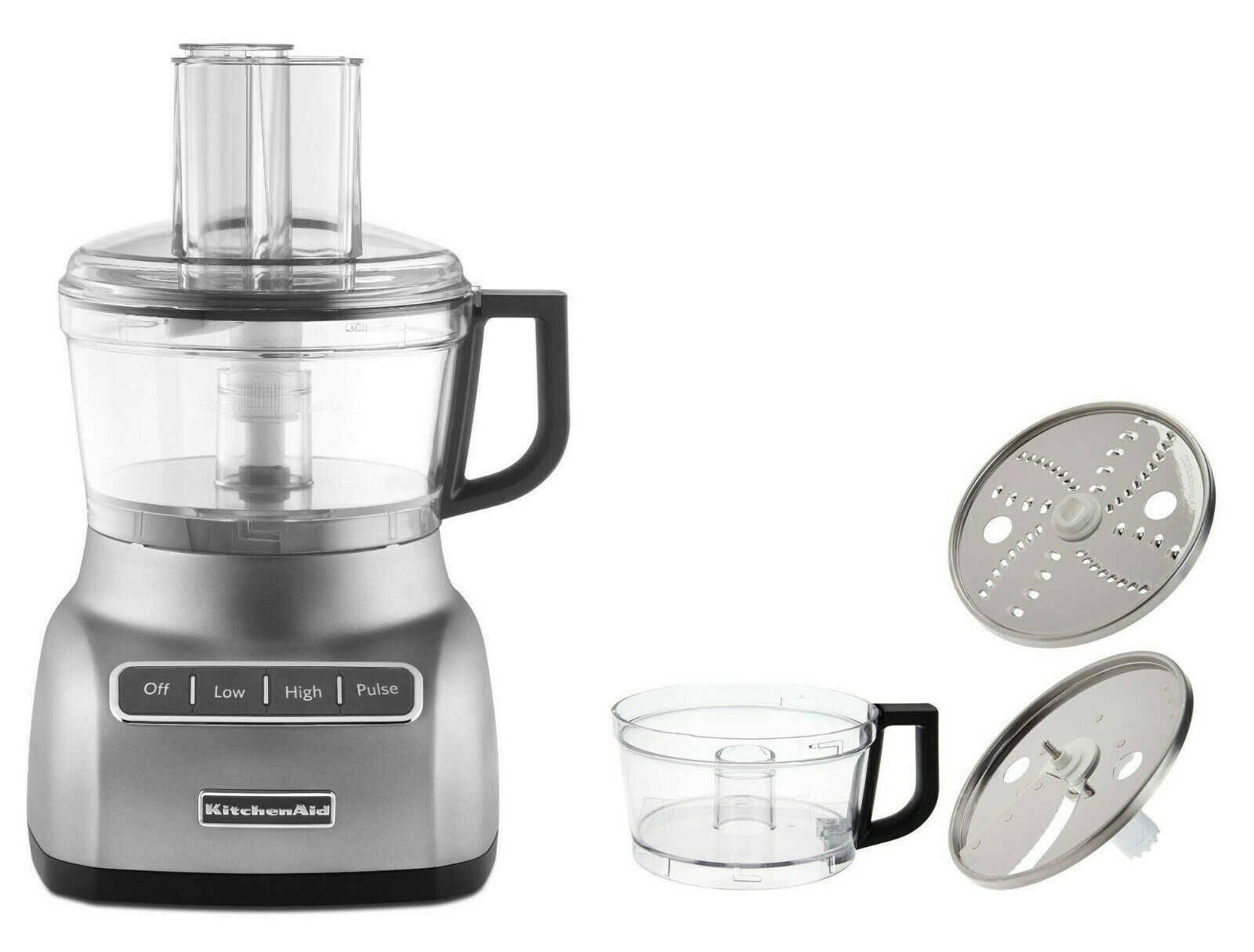 KitchenAid KFP0711CU 7-Cup Exact Slice Food Processor contour argent