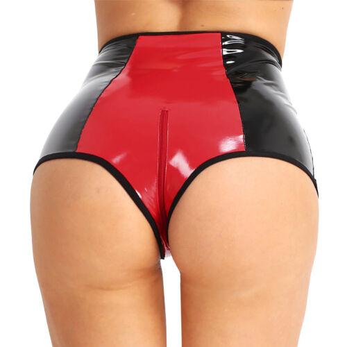 Latex Womens Leather High Waist Zipper Crotch Underwear Panty Brief Thong Shorts