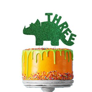Terrific Dinosaur 3Rd Birthday Cake Topper Number Three Third Topper Funny Birthday Cards Online Overcheapnameinfo