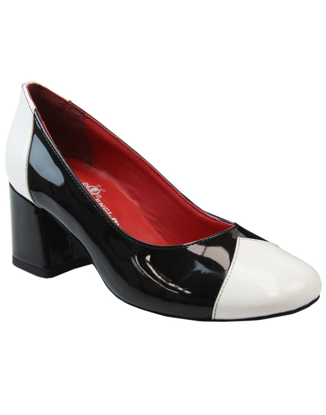 NOUVEAU  Chaussures Femme Rétro 60 S Vintage Chaussures Talons mod Madcap England Sylvie Noir Blanc
