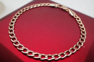 18K-Rose-gold-GF-Solid-3mm-Chain-Women-Ladies-children-bracelet-7-039-18cm