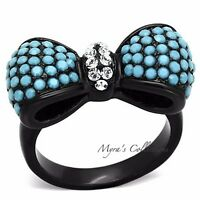 Women's Turquoise Aaa Cz Black Stainless Steel Bow Tie Fashion Ring Size 5-10