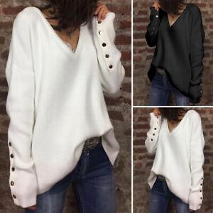Mode-Femme-Pull-chandails-Ample-Confor-Manche-Longue-Col-V-Boutons-Haut-Plus